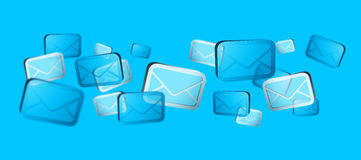 Numerous white and blue email icons flying '3D rendering'. Numerous white and blue email icons flying on blue background '3D rendering Royalty Free Stock Photography
