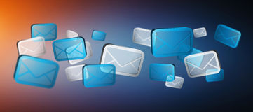 Numerous white and blue email icons flying '3D rendering'. Numerous white and blue email icons flying on blue background '3D rendering Stock Photography