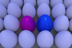 Numerous white eggs in slightly bluish ambient light. 3D-Rendering of numerous white eggs in slightly bluish ambient light, which stand on a light brown surface royalty free illustration