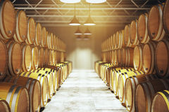 Numerous wine barrels Stock Photography