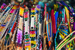 Numerous wristbands with Guatemala sing at the craft market Royalty Free Stock Photography