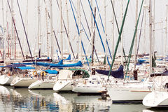 The numerous yachts moored in the port of Larnaca, Cyprus.  stock images
