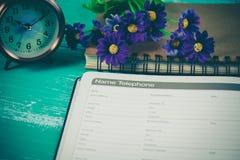 numerowa telefoniczna lista na stronie dzienniczek książki planista Zdjęcie Royalty Free