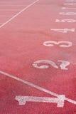 numerowy biegowy czerwieni śladu biel Zdjęcia Stock