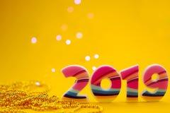 Numerowy 2019 na żółtym tle zdjęcie royalty free