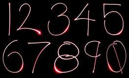 numerowy neon set Obrazy Stock