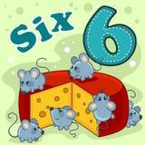 Numerowy sześć z ilustracją ilustracja wektor
