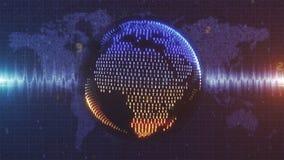 Numerycznej ziemi - błękitna i pomarańczowa kula ziemska tworzył od dane na Ziemskim mapy tle Obraz Royalty Free