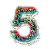Numeryka 5 tekstury kolorowa abstrakcjonistyczna ilustracja, odizolowywająca Zdjęcia Stock