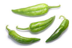 Numex Big Jim green chiles, paths, top view Stock Images