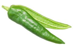 Numex Espanola Improved pepper split, top view. Espanola Improved chile pepper, split green pod. Numex or New Mexican pod type, Capsicum annuum. Top view stock photos