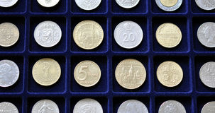 Numismatic coin collection. Detailed view of the numismatic collection of coins Royalty Free Stock Images