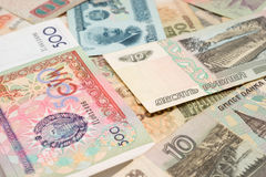 Numismatic collection. Banknotes (numismatic collection) around separately closeup Royalty Free Stock Images