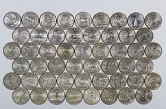 Numismatic collection of commemorative quarters of the United States Stock Image