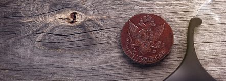 Numismatics, collect old coins. Top view. Copy space of your text. Banner stock photography