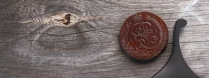 Numismatics, collect old coins. Top view. Copy space of your text. Banner royalty free stock photos