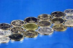 Numismatik eller samla för mynt, studier historien av coinagen och monetär cirkulation i olika länder av världen och arkivbild