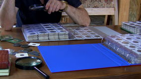 Numismatist examines coin collection stock video