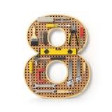 Nummer 8 åtta Alfabetet från hjälpmedlen på metallpegboarden är Royaltyfria Bilder