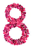 Nummer åtta av rosa kiselstenar Fotografering för Bildbyråer