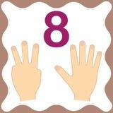 Nummer 8 åtta, bildande kort som lär att räkna med fingrar stock illustrationer