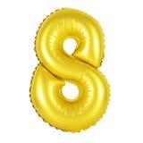 Nummer 8 åtta från guld- ballonger Royaltyfri Foto