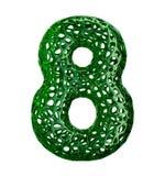Nummer 8 åtta gjorde av grön plast- med isolerade abstrakta hål på vit bakgrund 3d Arkivbild