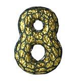 Nummer 8 åtta gjorde av guld- glänsande metallisk 3D med den isolerade svarta buren på vit Arkivfoton