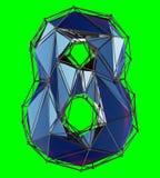 Nummer 8 åtta i låg poly stilblåttfärg som isoleras på grön bakgrund 3d vektor illustrationer