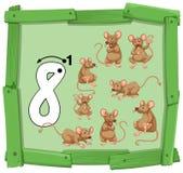 Nummer åtta på träbaner royaltyfri illustrationer