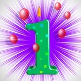Nummer Één Partij toont Één Jaarverjaardag of Verjaardag Stock Afbeelding