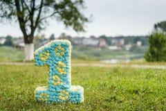 Nummer één van bloemen op groen gras wordt gemaakt dat Royalty-vrije Stock Afbeeldingen
