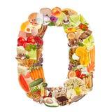 Nummer 0 dat van voedsel wordt gemaakt Stock Afbeelding