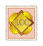 Nummer 100 zegelrood Royalty-vrije Stock Afbeelding