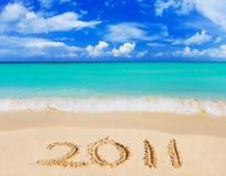 Nummer 2011 op strand Royalty-vrije Stock Afbeeldingen