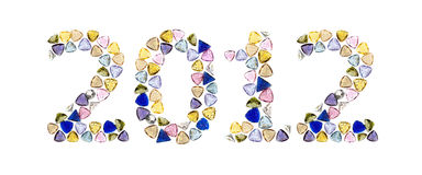 Nummer 2012, middelen Gelukkig Nieuwjaar van halfedelstenen. royalty-vrije illustratie