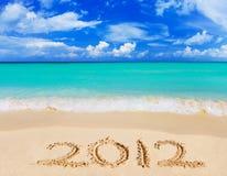Nummer 2012 op strand Royalty-vrije Stock Afbeeldingen