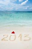 Nummer 2013 på den tropiska strandsanden Royaltyfri Foto
