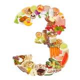 Nummer 3 dat van voedsel wordt gemaakt Royalty-vrije Stock Foto