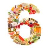 Nummer 6 dat van voedsel wordt gemaakt Stock Foto