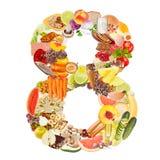 Nummer 8 dat van voedsel wordt gemaakt Stock Foto's