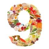 Nummer 9 dat van voedsel wordt gemaakt Royalty-vrije Stock Afbeelding
