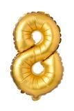 nummer 8 av den guld- ballongen Royaltyfri Foto