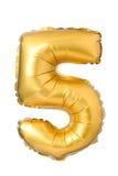 nummer 5 av den guld- ballongen Royaltyfri Bild