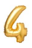 nummer 4 av den guld- ballongen Arkivfoto