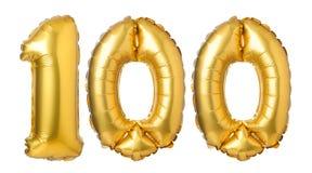nummer 100 av guld- ballonger Arkivfoto