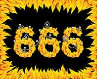 nummer 666 av jäkel Numerisk brand Skelett i inferno sinners vektor illustrationer