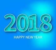 Nummer 2018 Blauwe nieuwe het jaargroet van 2018 Stock Afbeeldingen