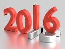 nummer 3d 2016 år över 2015 Arkivfoto