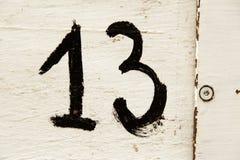 Nummer dertien in hout stock afbeeldingen
